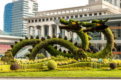 Dragons sculptured trees in pudong shanghai china Stock Photo