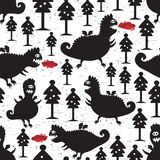 Dragons seamless background. Vector pattern with funny monsters Royalty Free Stock Photography