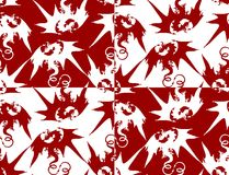 Dragons. Seamless pattern of red or white dragons Stock Photo