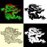 Dragons set. Dragons illustration set in 4 variants Stock Images