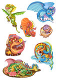 Dragons set on a white background Stock Images