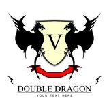 2 dragons, shield and ribbon Twin Black Dragons. Twin Black Dragons. Yellow shield, and red ribbon at the bottom. combine with Text, suitable for corporate Stock Photography