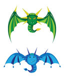 Dragons smilies green and blue. Royalty Free Stock Photos