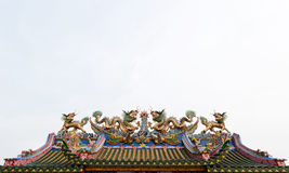 Dragons statue. On the roof of Chinese temple Stock Photography
