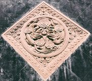 Dragons stone sculpture in China. Dragons stone sculpture in diamond shape wall in Chengdu Jinli old street, Sichuan province, China royalty free stock photo