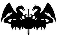 Dragons and sword. Vector sign isolated on white. Dragons and sword Stock Photography