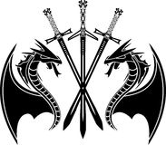 Dragons and swords. Stencil. vector illustration Royalty Free Stock Photo