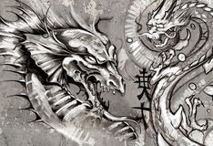 Dragons, tattoo illustration over grey wall Stock Image