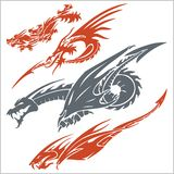 Dragons for tattoo. Vector set. Stock Image