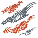 Dragons for tattoo. Vector set. Stock Images