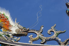 Dragons on temple roof. Chinese dragons on a temple roof.  Dragons have a special place in Chinese mythology.  Traditional they were thought to control to the Royalty Free Stock Photo