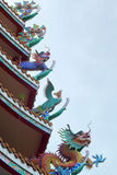 Dragons in the temple with sky Stock Photo