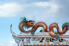 Dragons in the temple with sky Stock Image