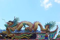 Dragons in the temple with sky Royalty Free Stock Photography