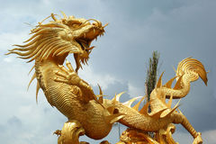 Dragons in the temple with sky Stock Images