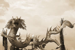 Dragons in the temple with sky Royalty Free Stock Photos