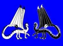 Dragons. Two dragons black and white Stock Illustration
