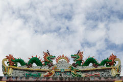 Dragons. Two dragons on roof Chinese temple Royalty Free Stock Photography
