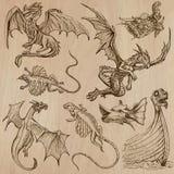 dragons Vetores tirados uma mão em um bloco Foto de Stock