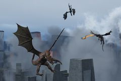 Dragons wreak destruction on modern city. A trio of dragons in flight above city that is shrouded in smoke from the destruction they have caused Royalty Free Stock Photography
