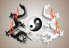 Dragons yin and yang. Chinese dragons yin and yang symbol concept.Vector paper art Stock Photos