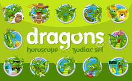 Dragons zodiac set Royalty Free Stock Photography