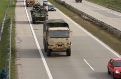 Dragoon Ride - US army convoy drives through Czech Republic Stock Photos