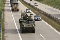 Dragoon Ride - US army convoy drives through Czech Republic Stock Photography