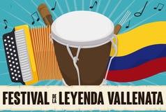 Dragspel, Caja, Guacharaca, colombiansk flagga och snirkel för den Vallenato festivalen, vektorillustration stock illustrationer