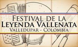 Dragspel, Caja Vallenata och Guacharaca för den Vallenato legendfestivalen, vektorillustration vektor illustrationer