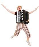 dragspels- musiker arkivbild