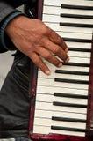 Dragspels musiker i paris arkivfoto
