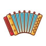 dragspels- Musikinstrument för unge behandla som ett barn objekt för frukt för mat för bakgrundsmappar isolerade illustrationen s vektor illustrationer