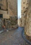 Dragspels- spelare i de smala gatorna runt om den påvliga slotten I arkivbild