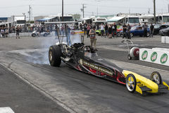 Dragster burnout at the starting line. Picture of dragster making a burnout during the festidrag event at napierville dragway Stock Image