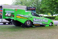 Dragster. Santa pod raceway. A dragster car. Green with words Santa Pod on the side. Santa pod is adragster raceway venue in Bedfordshire, united Kingdom stock photo