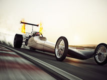 Dragster racing down the track with burnout. 3d rendering with room for text or copy space vector illustration