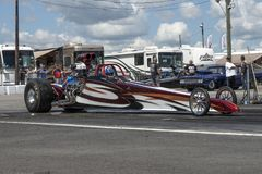 Dragster at the starting line. Picture of dragster at the starting line during the john scotti all out august 17, 2017 Royalty Free Stock Photo
