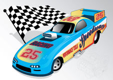 Dragster. Vector illustration of a dragster with checkered flag Royalty Free Stock Images