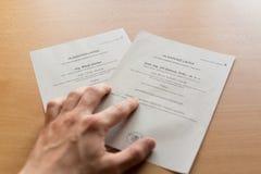Drahos vs Zeman. HAVIROV, CZECH REPUBLIC - JANUARY 14, 2018: Official voting papers for CZech presidential election. Milos Zeman and Jiri Drahos as candidates Stock Photo