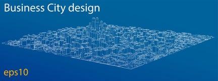Draht-Rahmen Stadt, Plan-Art Vektor lizenzfreie abbildung