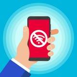 Drahtlos keine Entwurfs-Vektorillustration des wifi Ikonenzeichens flache auf dem technischen Gerät lizenzfreie abbildung