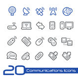 Drahtlose Kommunikations-Ikonen//-Linie Reihe Lizenzfreies Stockfoto