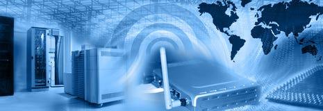Drahtlose Web-Bewirtung Montage-Blau Lizenzfreies Stockbild