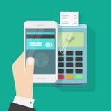 Drahtlose Zahlung mit Handy und Anschluss, kontaktloser Lohn des Smartphone Stockfoto