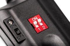 Drahtloser Auslöser, lokalisiert auf weißem Hintergrund Fotographische Ausrüstung stockbild