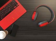Drahtloser Kopfhörer, Laptop PC Lizenzfreies Stockbild