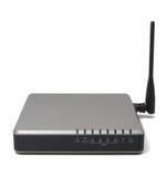 Drahtloser Router mit der Antenne lokalisiert auf weißem Hintergrund MO Lizenzfreie Stockbilder