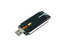Drahtloser USB Adapter Wi-Fi lokalisiert auf weißem Hintergrund Lizenzfreies Stockbild