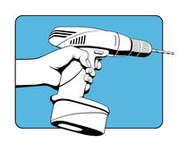 Drahtloses Bohrgerät und Benutzer Stockbilder